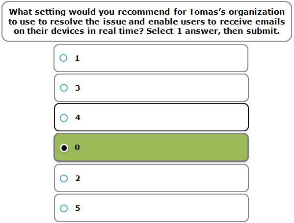 What setting would you recommend for Tomas's organization to use to resolve the issue and enable users to receive emails on their devices in real time? Select 1 answer, then submit.