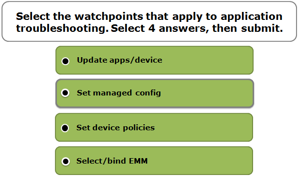 Select the watchpoints that apply to application troubleshooting. Select 4 answers, then submit.