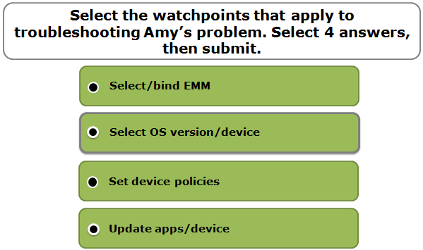 Select the watchpoints that apply to troubleshooting Amy's problem. Select 4 answers, then submit.