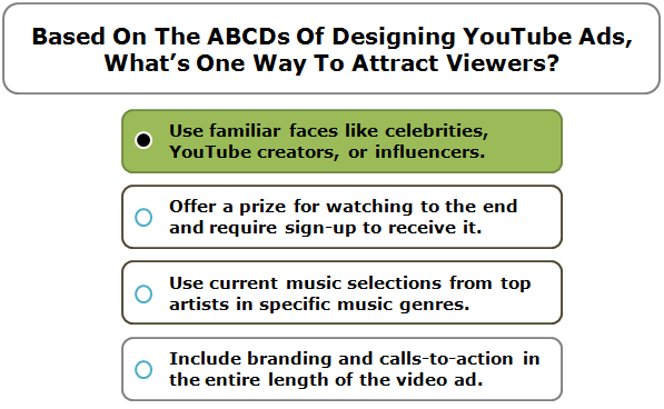 Based on the ABCDs of designing YouTube ads, what's one way to attract viewers?