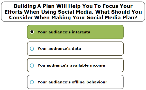 Building a plan will help you to focus your efforts when using social media. What should you consider when making your social media plan?