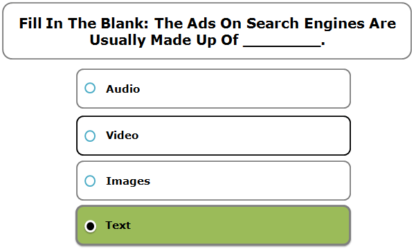 Fill in the blank: the ads on search engines are usually made up of ________.