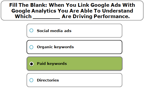 Fill the blank: When you link Google Ads with Google Analytics you are able to understand which ________ are driving performance.