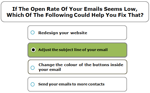 If the open rate of your emails seems low, which of the following could help you fix that?