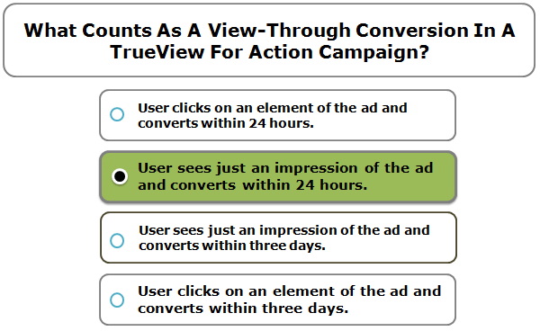 What counts as a view-through conversion in a TrueView for action campaign?
