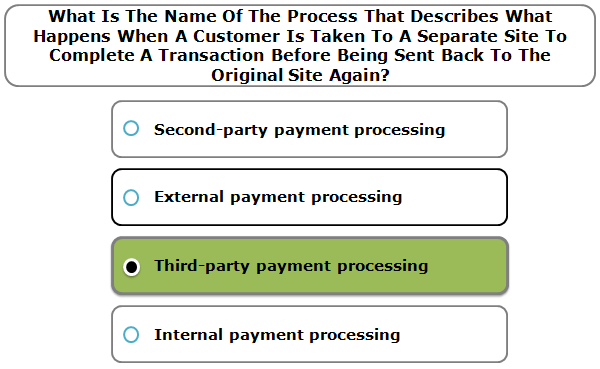 What is the name of the process that describes what happens when a customer is taken to a separate site to complete a transaction before being sent back to the original site again?