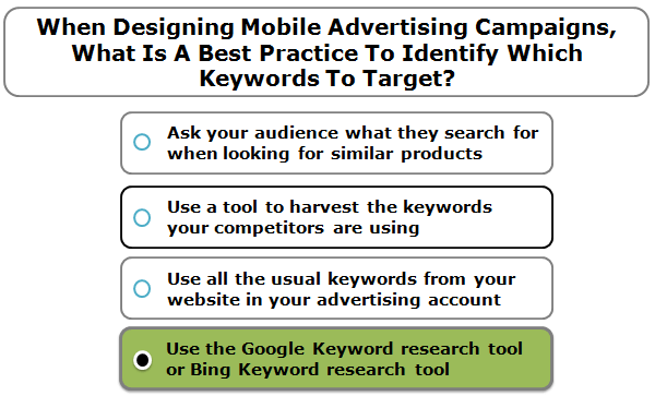 When designing mobile advertising campaigns, what is a best practice to identify which keywords to target?