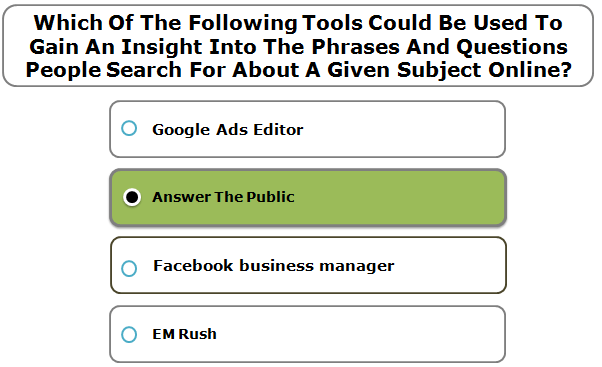 Which of the following tools could be used to gain an insight into the phrases and questions people search for about a given subject online?