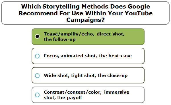 Which storytelling methods does Google recommend for use within your YouTube campaigns?