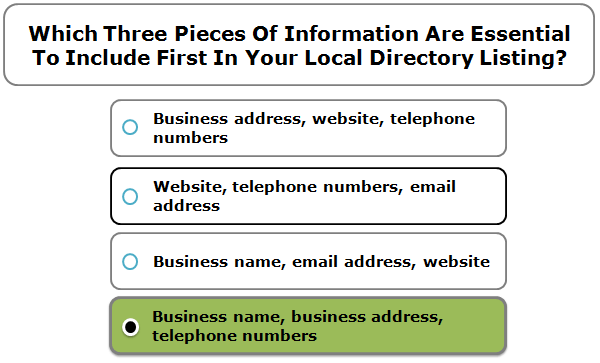 Which three pieces of information are essential to include first in your local directory listing?