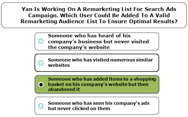 Yan is working on a remarketing list for search ads campaign. Which user could be added to a valid remarketing audience list to ensure optimal results?