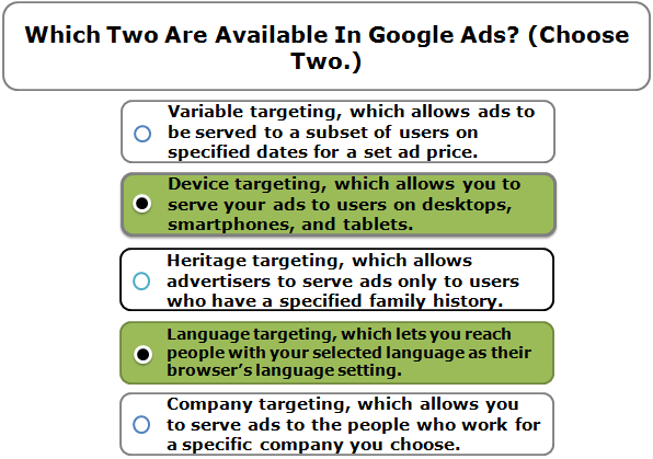 Which two are available in google ads? (choose two.)