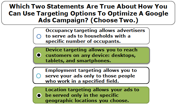 Which two statements are true about how you can use targeting options to optimize a Google Ads campaign? (Choose two.)