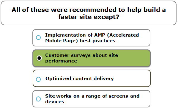 All of these were recommended to help build a faster site except?