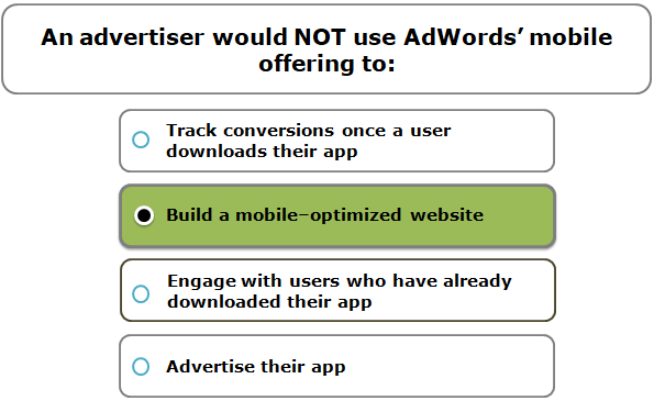 An advertiser would NOT use AdWords' mobile offering to: