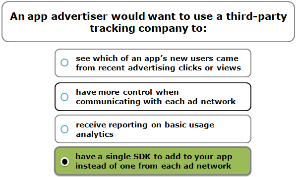 An app advertiser would want to use a third-party tracking company to: