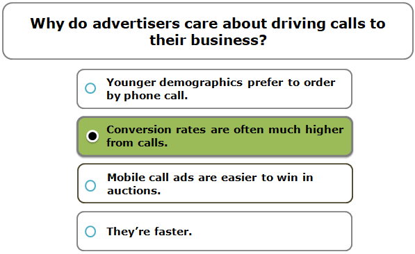 Why do advertisers care about driving calls to their business?