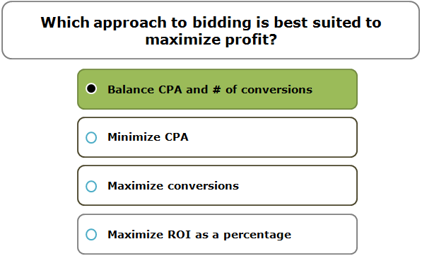 Which approach to bidding is best suited to maximize profit?