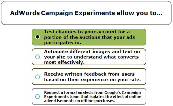 AdWords Campaign Experiments allow you to…