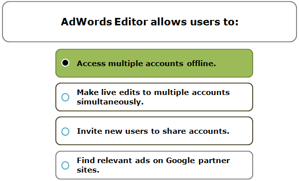 AdWords Editor allows users to: