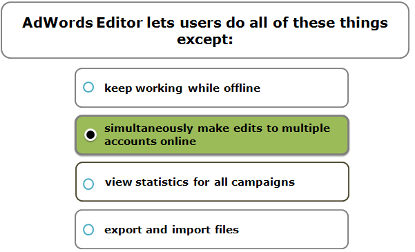AdWords Editor lets users do all of these things except: