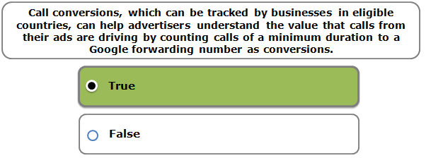 Call conversions, which can be tracked by businesses in eligible countries, can help advertisers understand the value that calls from their ads are driving by counting calls of a minimum duration to a Google forwarding number as conversions.
