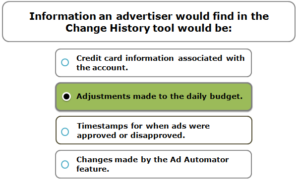 Information an advertiser would find in the Change History tool would be:
