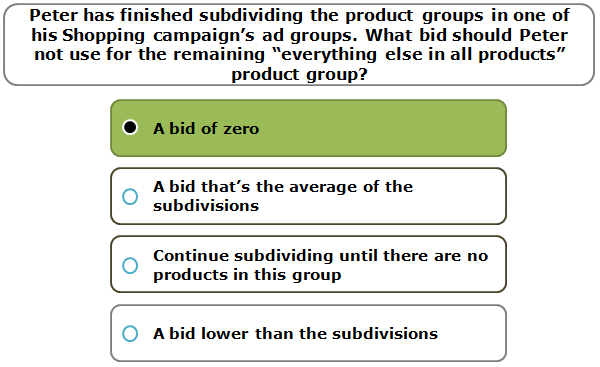 """Peter has finished subdividing the product groups in one of his Shopping campaign's ad groups. What bid should Peter not use for the remaining """"everything else in all products"""" product group?"""