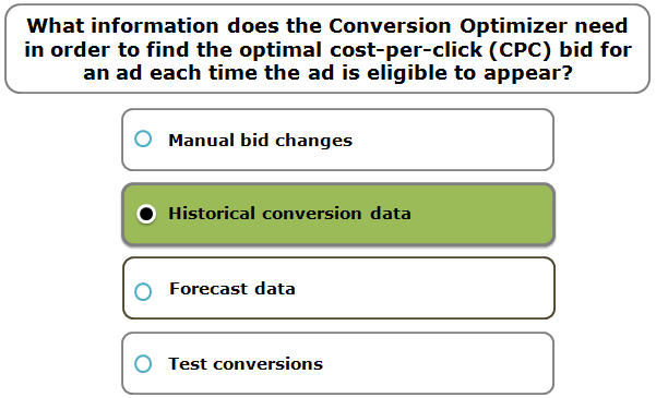 What information does the Conversion Optimizer need in order to find the optimal cost-per-click (CPC) bid for an ad each time the ad is eligible to appear?