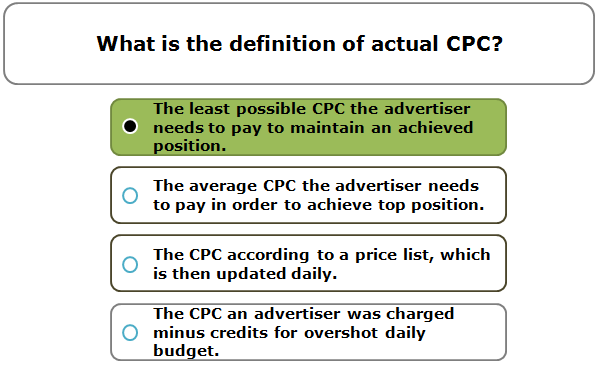 What is the definition of actual CPC?