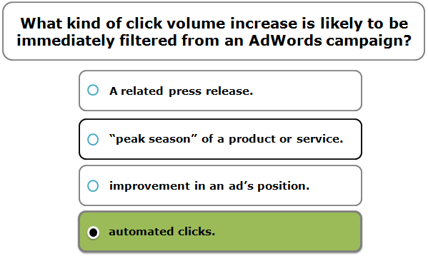 What kind of click volume increase is likely to be immediately filtered from an AdWords campaign?