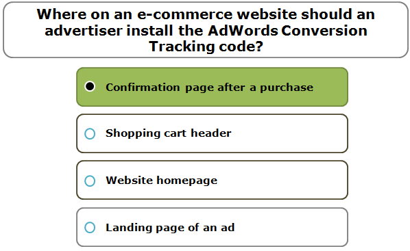Where on an e-commerce website should an advertiser install the AdWords Conversion Tracking code?