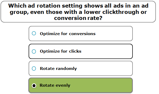 Which ad rotation setting shows all ads in an ad group, even those with a lower clickthrough or conversion rate?