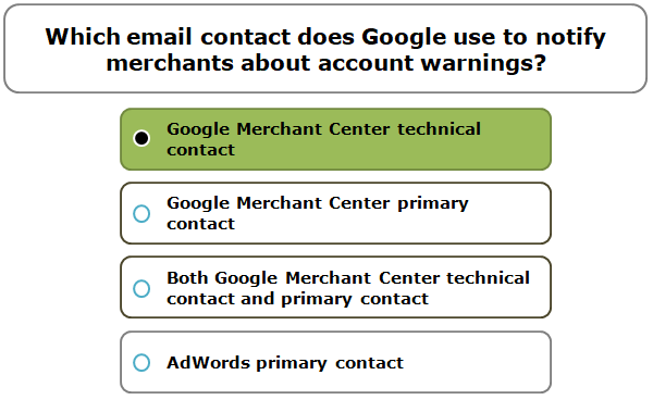 Which email contact does Google use to notify merchants about account warnings?