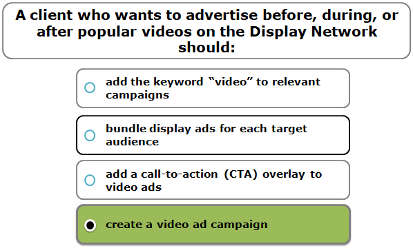 A client who wants to advertise before, during, or after popular videos on the Display Network should: