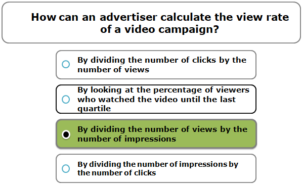 How can an advertiser calculate the view rate of a video campaign?