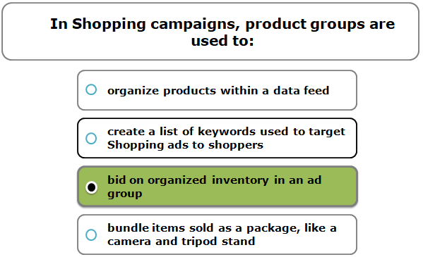 In Shopping campaigns, product groups are used to: