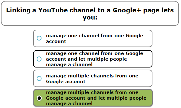 Linking a YouTube channel to a Google+ page lets you: