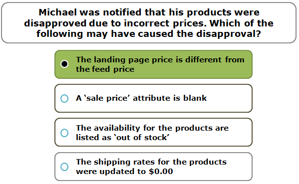 Michael was notified that his products were disapproved due to incorrect prices. Which of the following may have caused the disapproval?