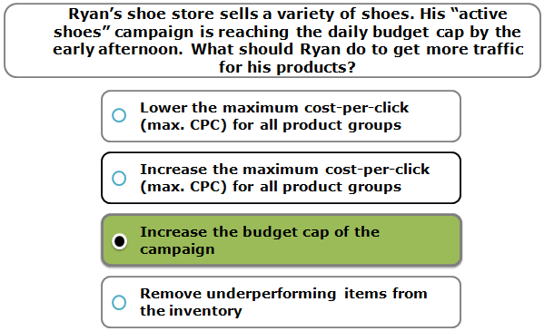 """Ryan's shoe store sells a variety of shoes. His """"active shoes"""" campaign is reaching the daily budget cap by the early afternoon. What should Ryan do to get more traffic for his products?"""