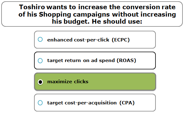 Toshiro wants to increase the conversion rate of his Shopping campaigns without increasing his budget. He should use: