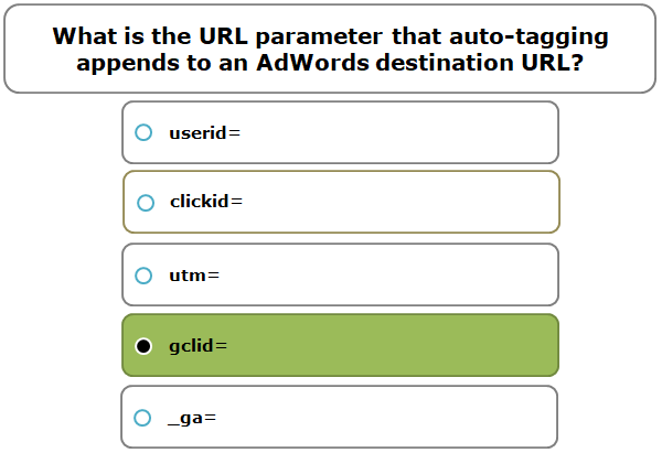 What is the URL parameter that auto-tagging appends to an AdWords destination URL?