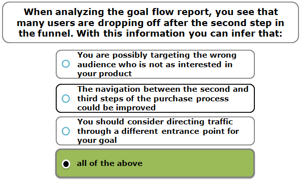 When analyzing the goal flow report, you see that many users are dropping off after the second step in the funnel. With this information you can infer that: