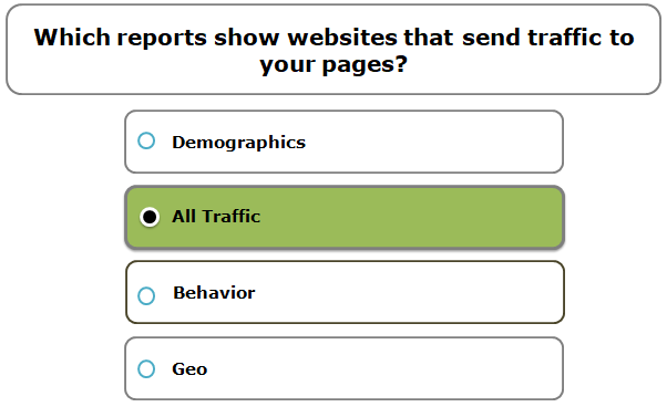 Which reports show websites that send traffic to your pages?