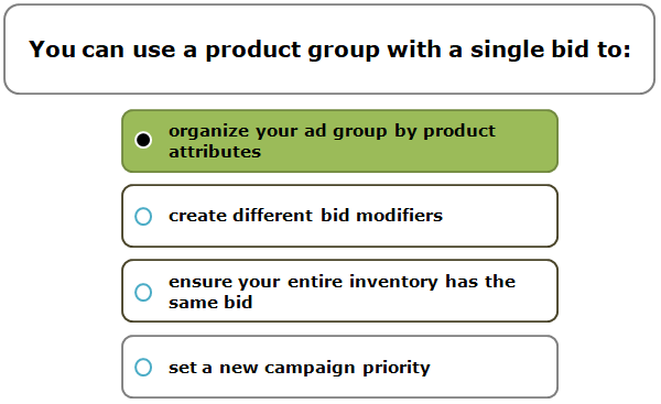 You can use a product group with a single bid to: